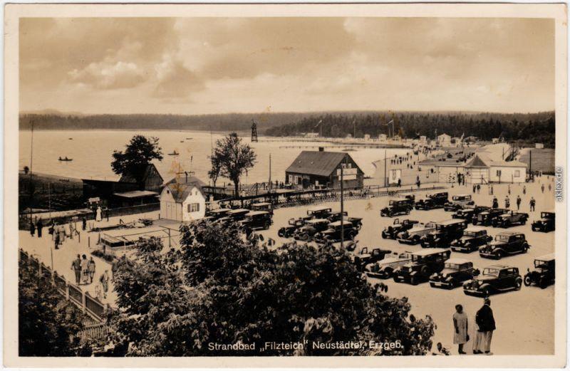 Neustädtel Schneeberg Erzgebirge Strandbad Filzteich Restaurant Parkplatz 1930