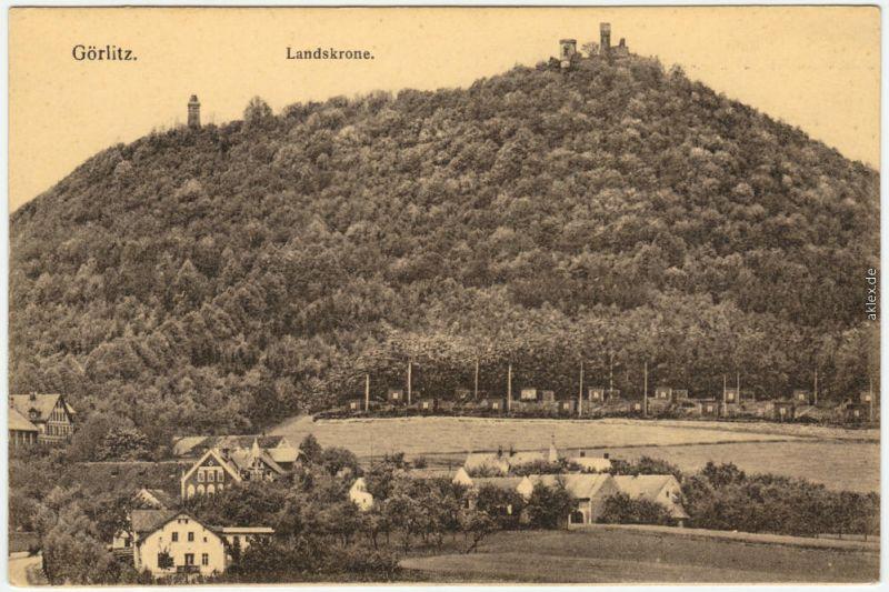 Ansichtskarte Biesnitz Görlitz Zgorzelec Partie an der Landeskrone 1918