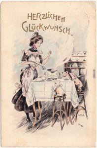 Geburtstag Ferkel am Tisch werden bedient Tiere als Menschen Künstlerkarte 1908