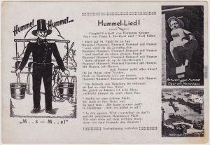 Neustadt Hamburg  Hummel-Lied, Hafenpartie, MemelhausIllustration Hans Hummel 1