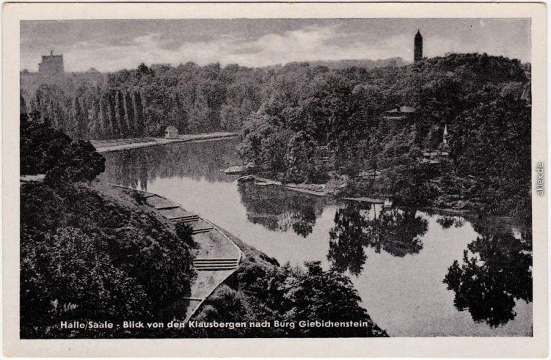 Giebichenstein Halle (Saale) Blick von den Klausbergen Ansichtskarte 1954