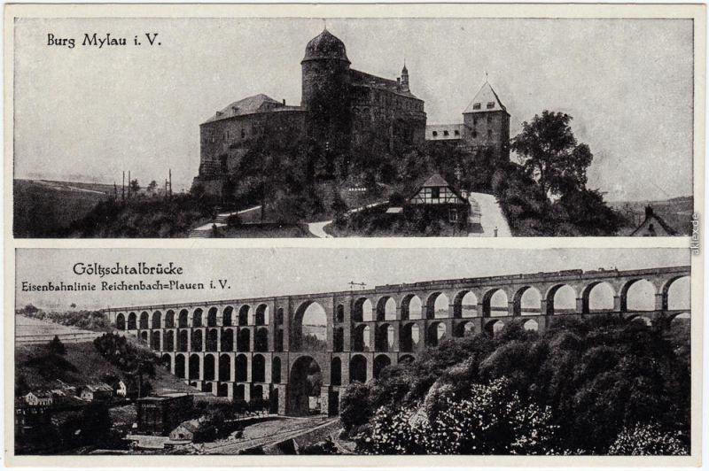Mylau Burg Mylau und Göltzschtalbrücke Ansichtskarte b Plauen Vogtland 1929