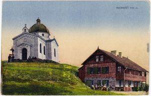 Rosenau Rožnov pod Radhoštěm Kapelle und Gasthaus Region Zlín  1916