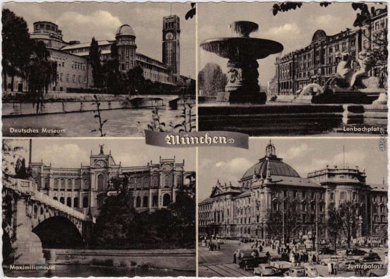München  Deutsches Museum, Lenbachplatz, Maximilianeum, Justizpalast 1965