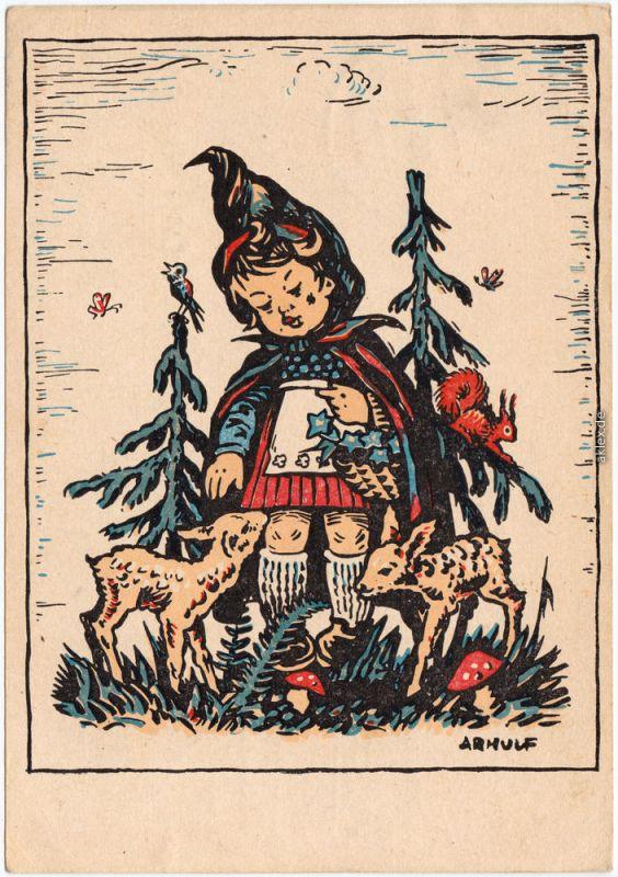 Rotkäppchen mit Rehkiz im Wald  - Mundgemalt von Arnulf Erich Stegmann 1949