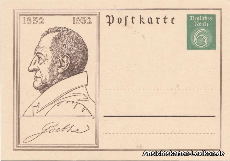 Ganzsachen Karte 1932 Johann Wolfgang von Goethe, ungebraucht 6Pf. Dt. Reich