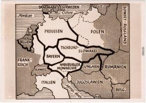 Landkarte französisch-englisches Kriegsziel: Zerstückelung Deutschland 1920
