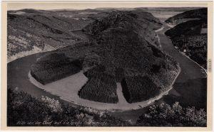 Ansichtskarte Mettlach Blick von der Cloef auf die große Saarschleife 1950