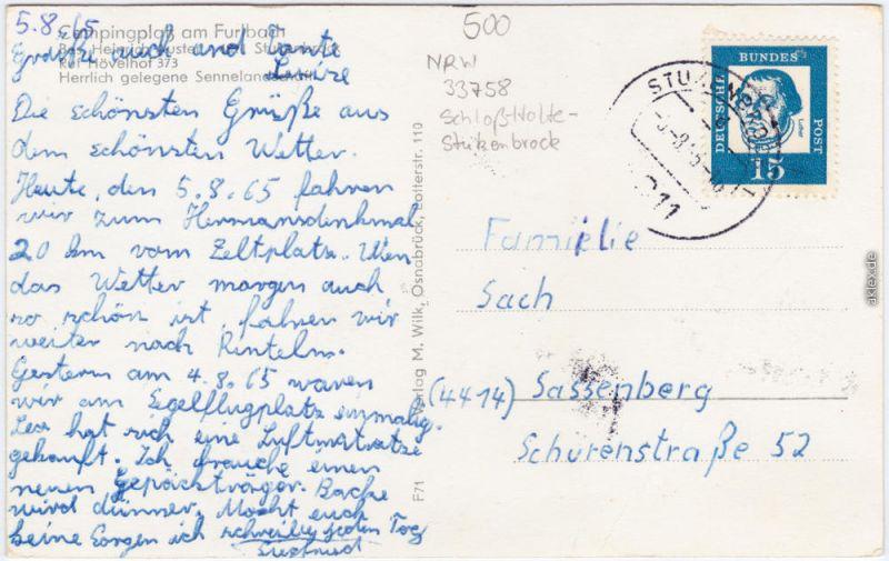 Schloß Holte Stukenbrock Campingplatz Am Furlbach B Gütersloh 1965