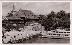 Konstanz Am Hafen mit Konzil-Gaststätte Foto Ansichtskarte  1965