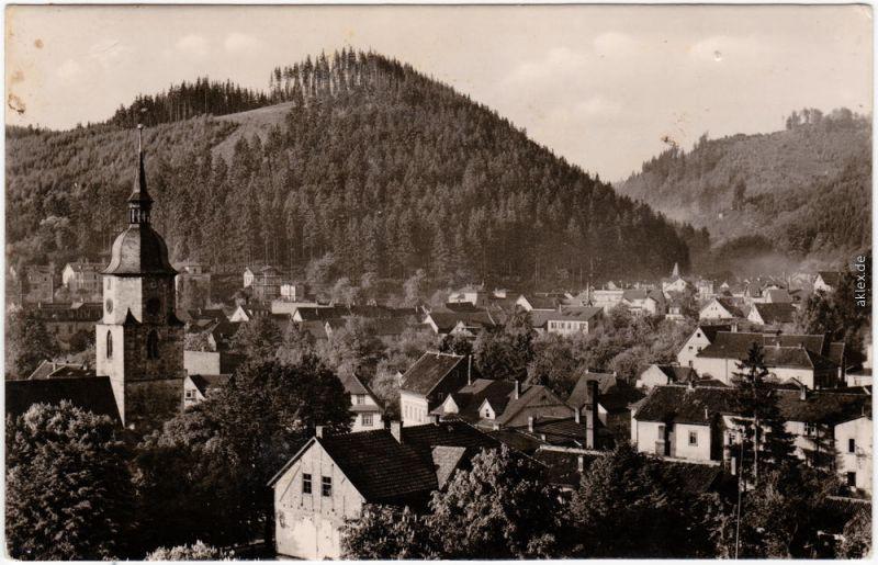 Foto Ansichtskarte Friedrichroda Blick über die Dächer der Stadt 1962