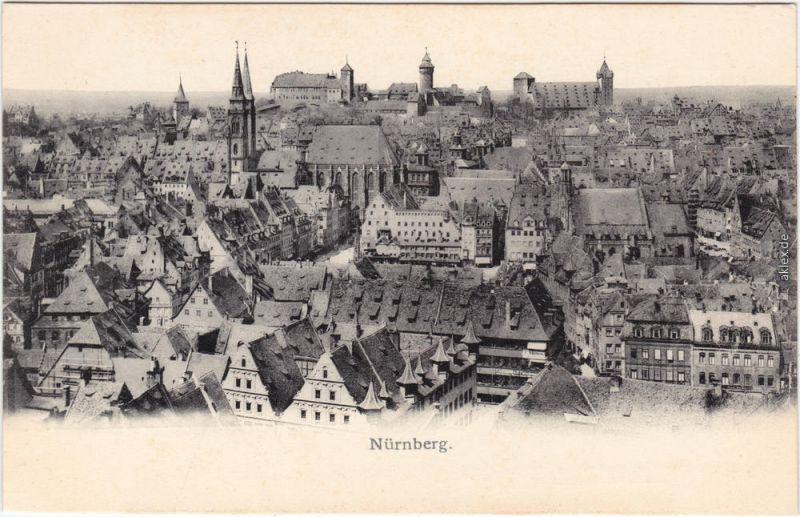 Ansichtskarte  Nürnberg Blick über die Dächer der Stadt 1905