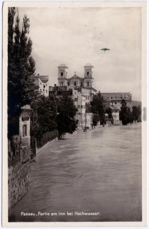 Foto Ansichtskarte Passau Partie am Inn bei Hochwasser 1934