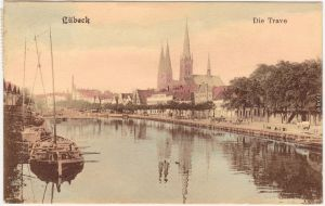 Ansichtskarte Travemünde Lübeck Die Trave 1908