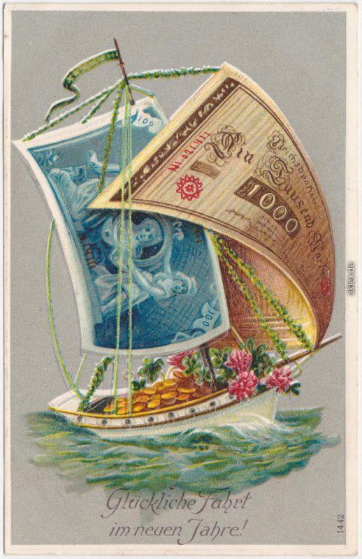 Glückwunsch Neujahr: Geldsegelschiff Reliefkarte 1912 Prägekarte