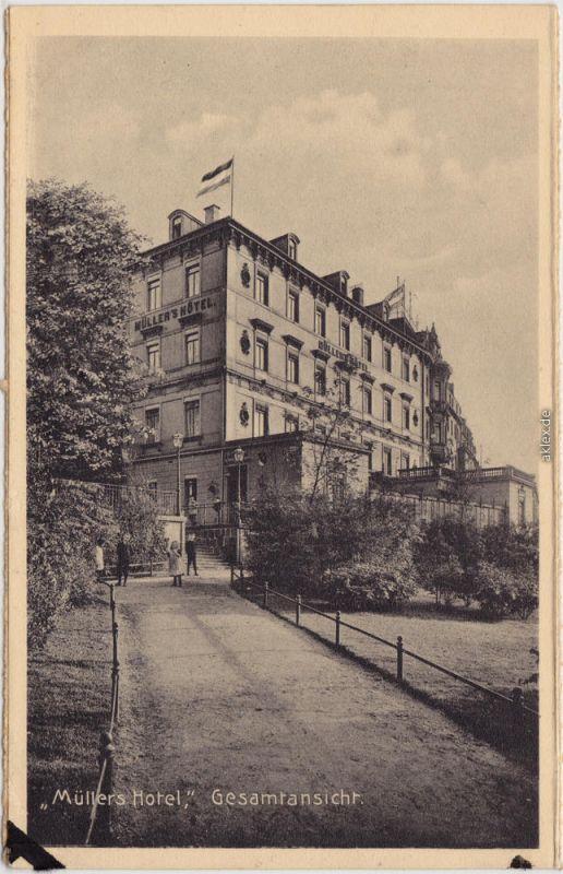 Leipzig Müllers Hotel - Gesamtansicht  Ansichtskarte Promenade 1929