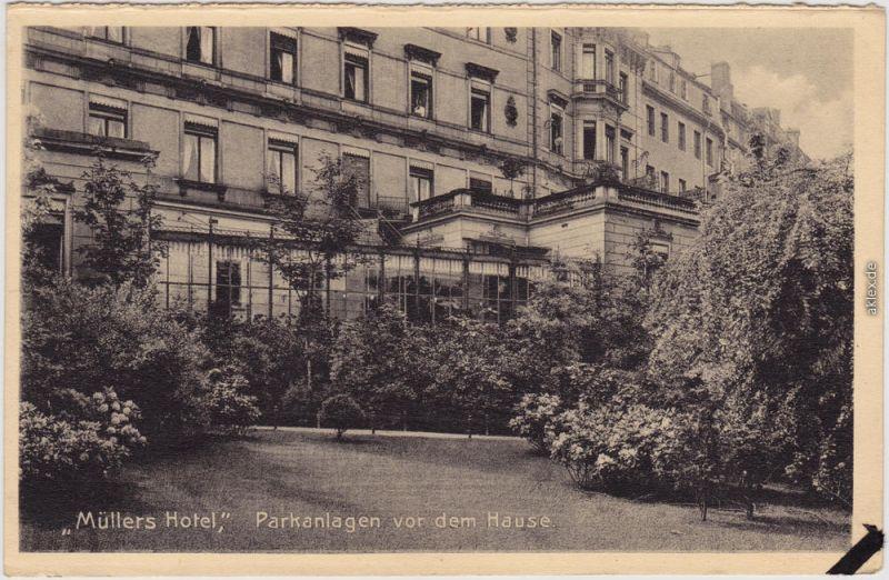 Leipzig Müllers Hotel - Parkansicht Ansichtskarte Promenade  1929