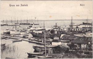 Rostock Hafen, Boote, Fischkutter und Hütten Ansichtskarte 1907