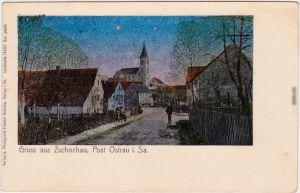 Zschochau-Ostrau (Sachsen) Dorfpartie - Lunakarte b Döbeln Riesa 1912