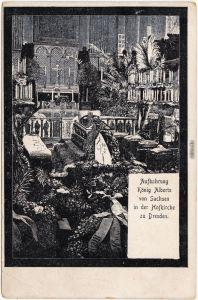 Altstadt Dresden Drježdźany Aufbewahrung König Albert in der Hofkirche 1907