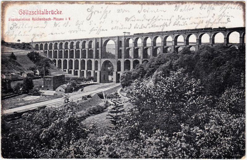 Mylau Göltzschtalbrücke - Eisenbahn Plauen - Reichenbach 1925