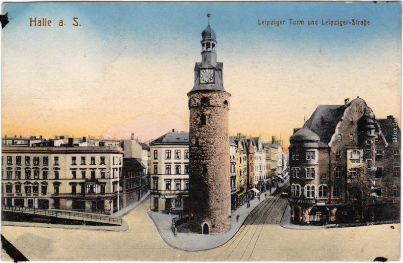 Halle (Saale) Leipziger Tor  - Leipziger Straße colorierte Ansichtskarte 1913