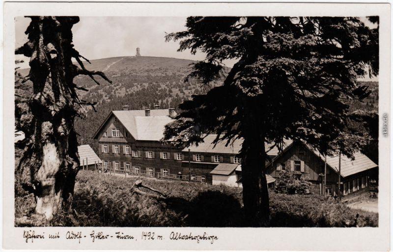 Freudenthal (Schlesien) Bruntál - Turm Altvaltergebirge 1936