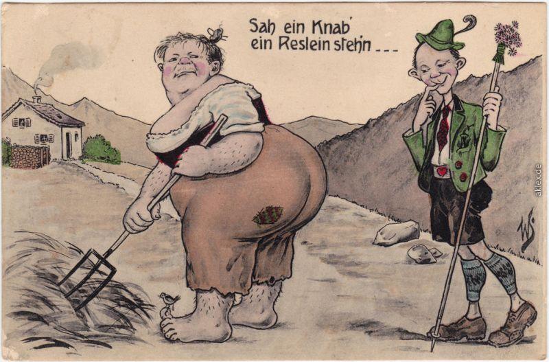 Bayrische Scherzkarten: Sah ein Knab ein Reslein steh
