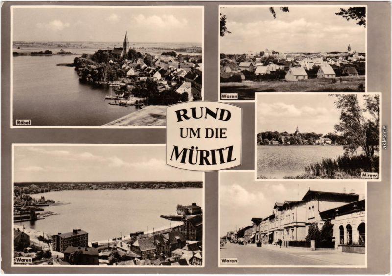Waren (Müritz) Rund um die Müritz  Foto Ansichtskarte 1964