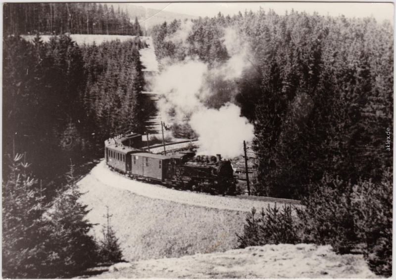 Foto Ansichtskarte  Sehmatal Schmalspurbahn -  Erzgebirge 1974