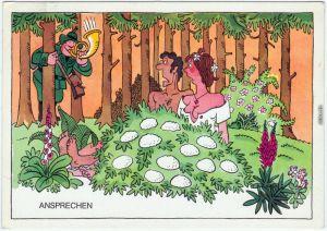 Aus der Weidmannssprache: Ansprechen | Erotikscherzkarte 1980 DDR Militär