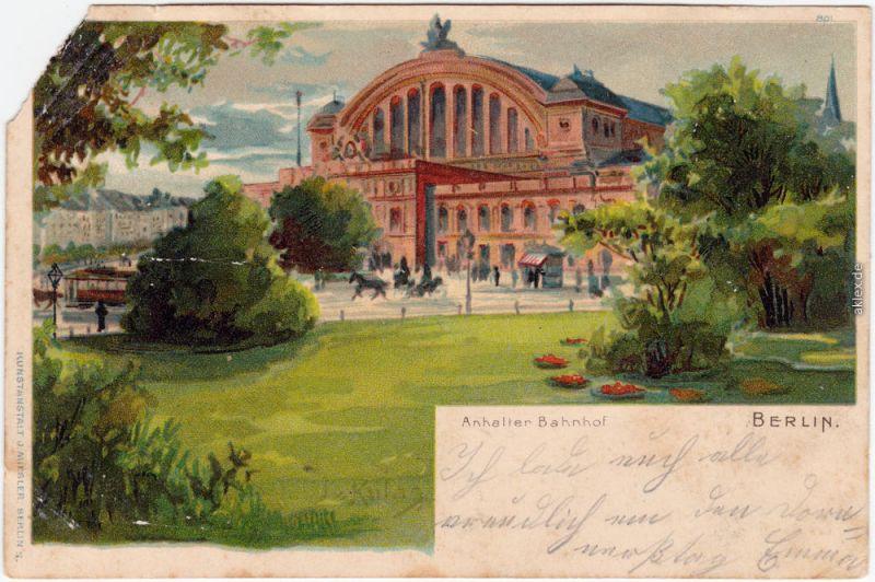 Kreuzberg Berlin Anhalter Bahnhof Ansichtskarte  signierte Künstlerkarte 1900