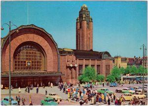 Helsinki Helsingfors Rautatieasema Ansichtkarte Postcard 1970