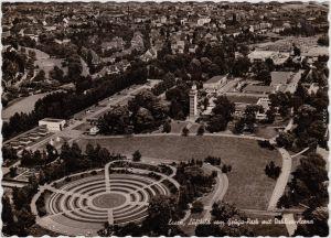 Foto Ansichtskarte Essen (Ruhr) Luftbild - Grugapark mit Dahlien-Arena 1964