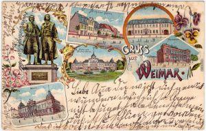 Weimar Litho: Schillerhaus, Post, Goethehaus, Schloß und Museum 1901