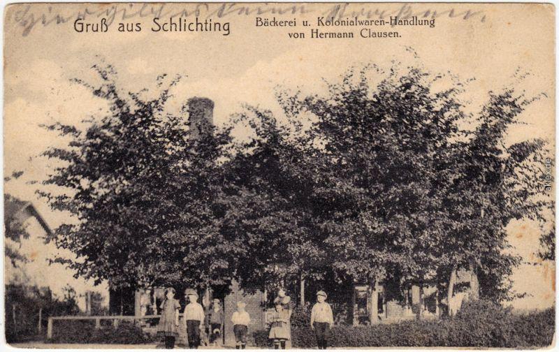 Schlichting Bäckerei Kolonialwaren-Handlung b Dithmarschen Eider Hamburg 1916