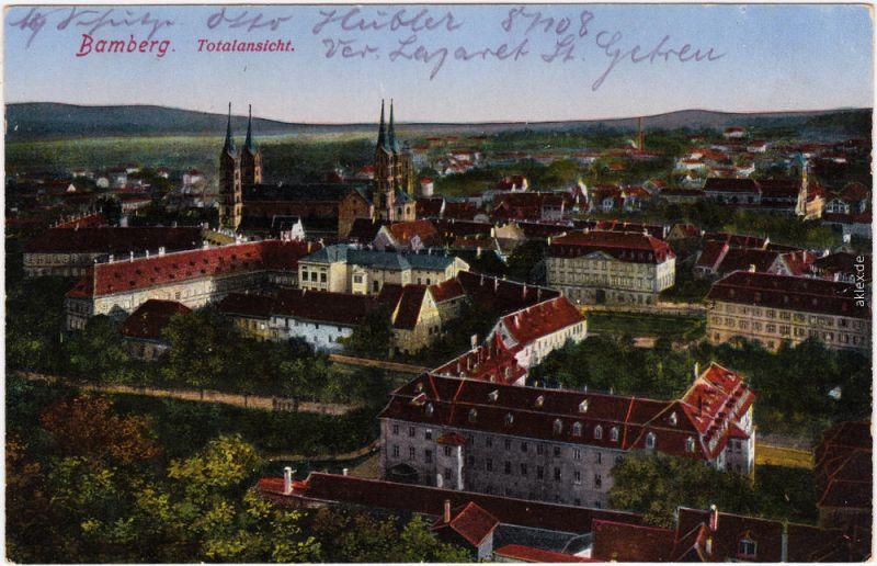 Ansichtskarte Bamberg Blick über die Dächer der Stadt 1916