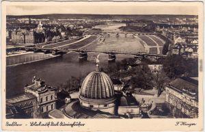 Foto Ansichtskarte Dresden Drježdźany Blick nach Neustadt und Johannstadt 1930