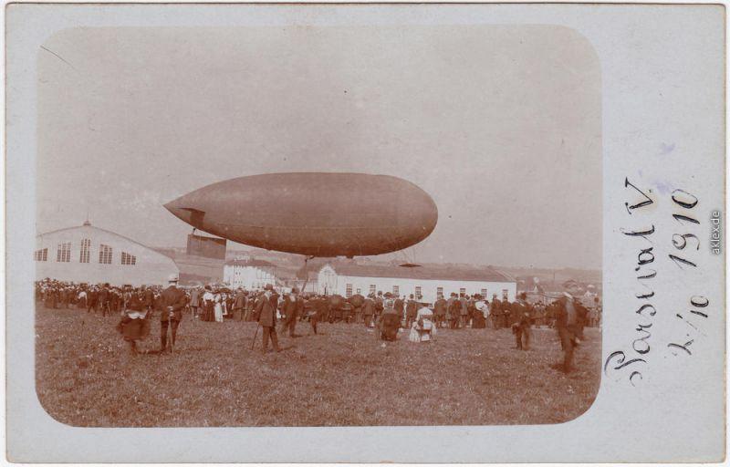 Luftschiff Parseval V Start, Luftschiffhalle Privatfoto Ansichtskarte  1910