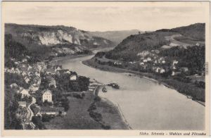 Pötzscha-Wehlen Sächs. Schweiz: Blick auf die Orte 1940