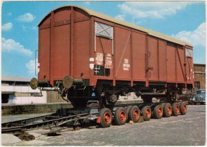 Ansichtskarte  LKW Anhänger mit Güterwagon 1978
