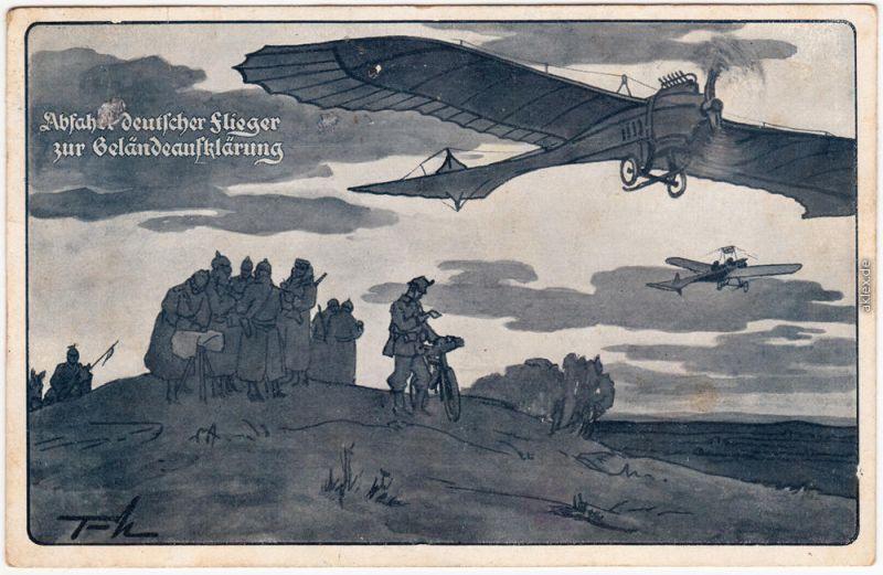 Abfahrt deutscher Flieger zur Geländeaufklärung 1915