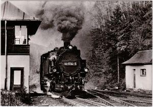 Kipsdorf Altenberg (Erzgebirge) Schmalspurbahn Bahnhof 1985
