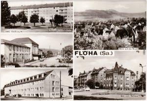 Ansichtskarte Flöha (Sachsen) Bahnhof, Poliklinik, Rathaus 1977