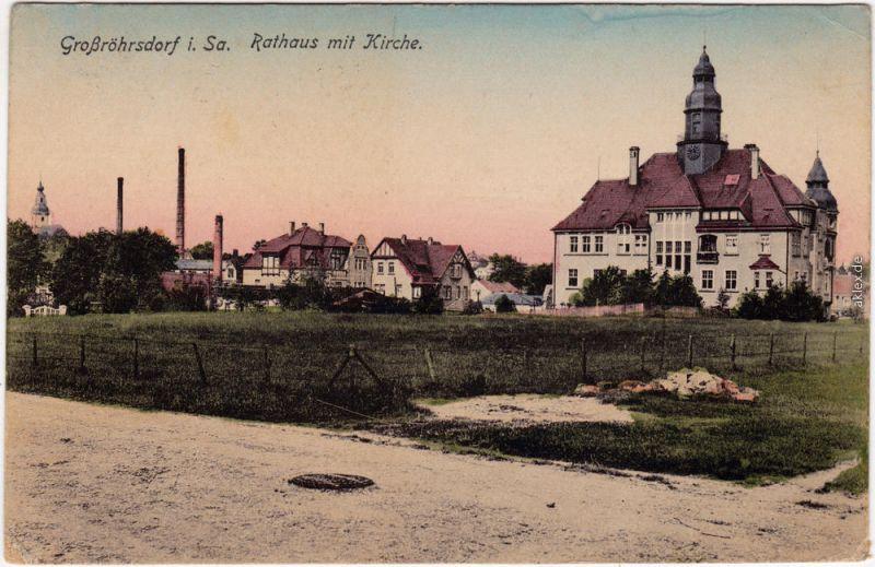 Großröhrsdorf Rathaus, Kirche, Villen und Fabrik b Pulsnitz Radeberg 1919