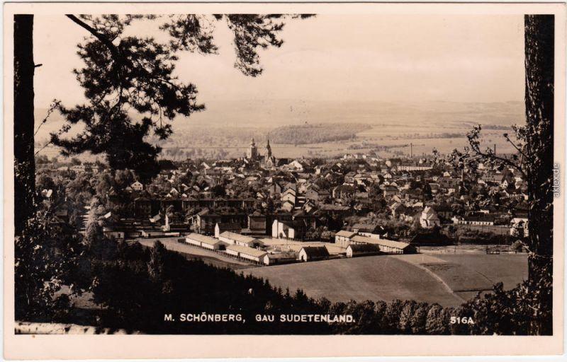 Mährisch Schönberg Šumperk Blick über die Stadt vom Berg Fotokarte 1932