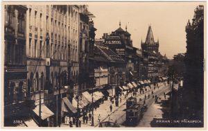 Prag Praha Na Prikopech Straßenbahn Foto Ansichtskarte Postcard 1928