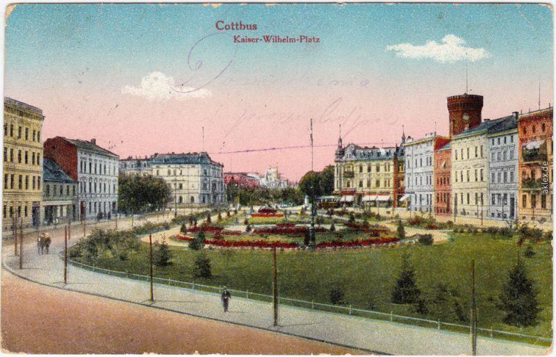 Ansichtskarte Cottbus Choćebuz Kaiser-Wilhelm-Platz 1916