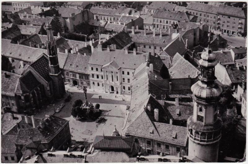 Ansichtskarte Ödenburg Sopron Blick auf Platz vom Turm 1966