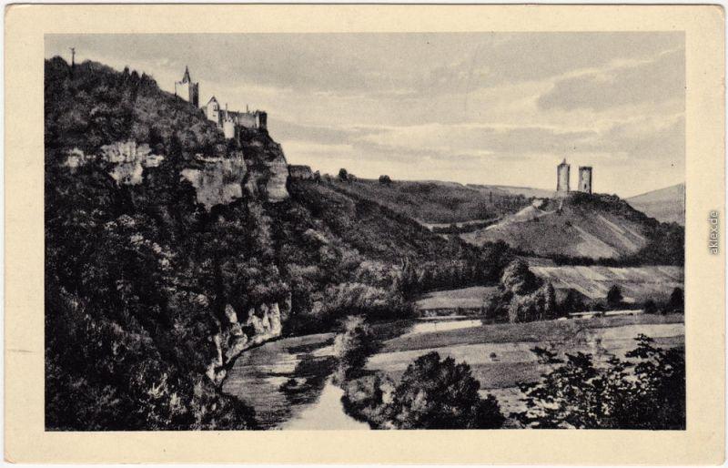 Ansichtskarte Saaleck Bad Kösen Rudelsburg und Saaleck 1934